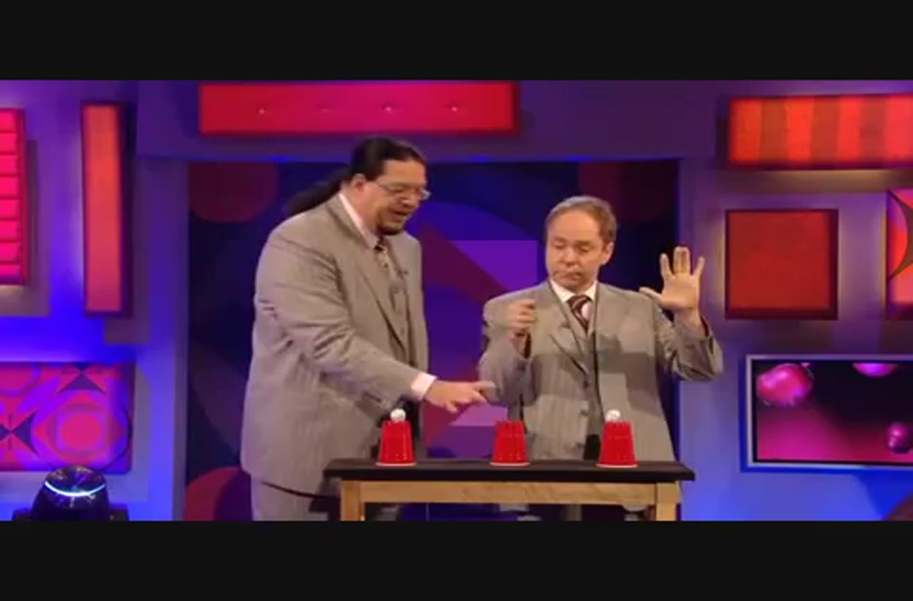 penn and teller show how to do a famous magic trick